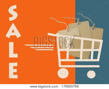 Sale background with cardboard price labels in shopping cart