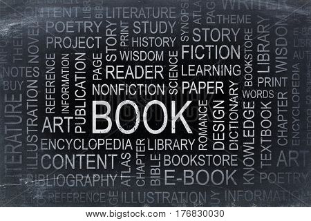 book, story and literature word cloud  - white chalk text on a slate blackboard