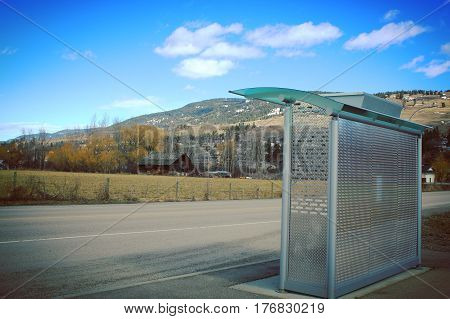 Transit Bus Shelter And Rural Landscape