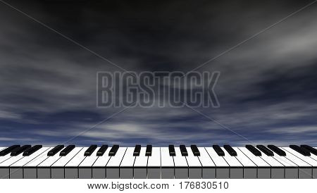 piano keyboard in front of dark blue sky - 3d illustration