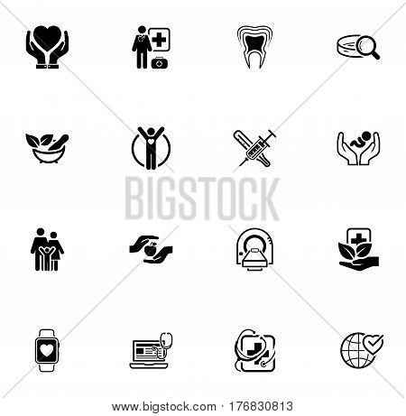 Medical and Health Care Icons Set. Flat Design. Isolated Illustration