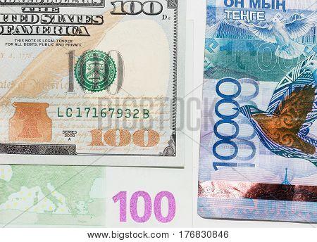 Tenge. Money of Kazakhstan. Dollars. Euro . Photo taken by professional camera and lens