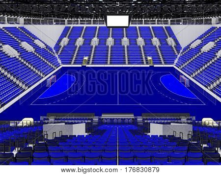 Beautiful Sports Arena For Handball With Blue Seats And Vip Boxes