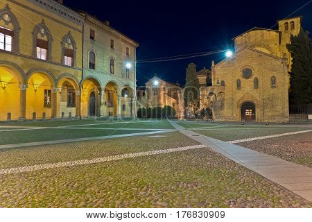 Night View of Santo Stefano Church and Piazza Santo Stefano, Bologna, Italy