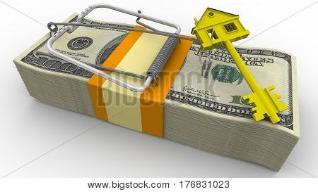 Trap estate. Risk on mortgage on house. Mousetrap from pack of American dollars with bait in form of golden key with symbol of house. Isolated. 3D Illustration