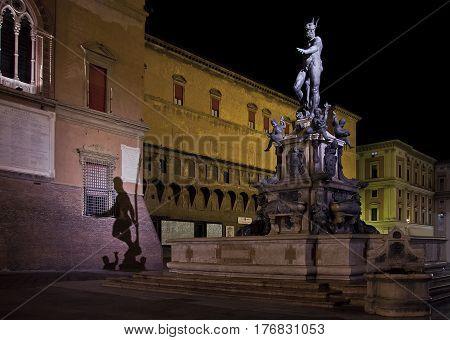 Fountain of Neptune at night , Bologna, Italy