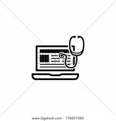 Medical Blog Icon with Laptop. Flat Design. Isolated