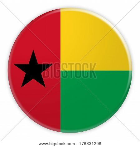 Guinea Bissau Flag Button News Concept Badge 3d illustration on white background