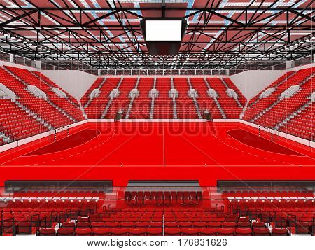 Bbeautiful Sports Arena For Handball With Red Seats And Vip Boxes