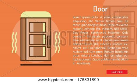 Door Conceptual Banner | Great banner flat design illustration concepts for construction, equipment, industry and much more.
