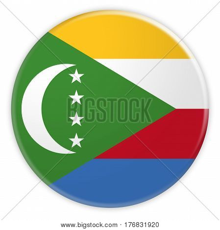 The Comoros Flag Button News Concept Badge 3d illustration on white background
