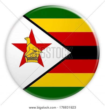 Zimbabwe Flag Button News Concept Badge 3d illustration on white background