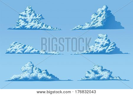 Set of six vector fluffy cumulus clouds