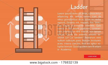 Ladder Conceptual Banner | Great banner flat design illustration concepts for construction, equipment, industry and much more.