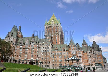 Chateau Frontenac in summer, Quebec City, Quebec, Canada. Quebec City is a UNESCO World Heritage Site since 1985.