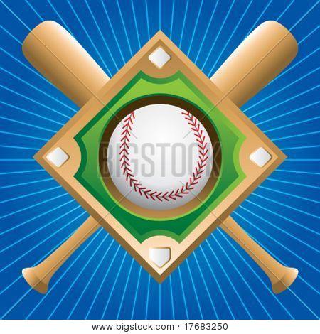 baseball diamond with crossed bats on blue starburst