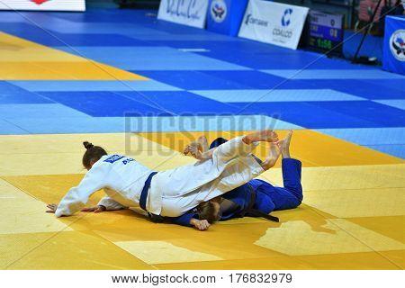 Orenburg, Russia - 21 October 2016: Girls Compete In Judo