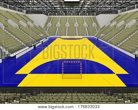 Beautiful Sports Arena For Handball With Gray Olive Green Seats And Vip Boxes