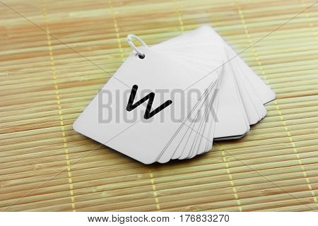 Word play cards on mat background