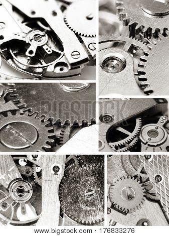 Watch mechanism gears in monochrome collage