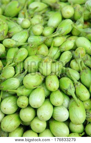 Green eggplants also called Aubergine