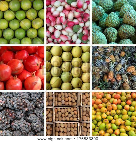 Different types of fruits collage
