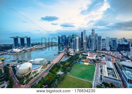 Cityscape of Singapore city in the daytime Aerial view Singapore skyline