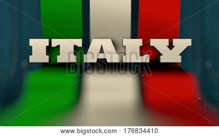 Italy flag design concept. Flag made from curved stripes. Country name. Image relative to travel and politic themes. 3D rendering