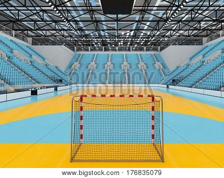 Beautiful Sports Arena For Handball With Sky Blue Seats And Vip Boxes