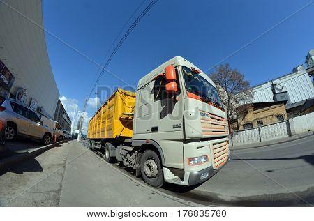 Truck on the street.March 17 ,2017 in Kiev, Ukraine