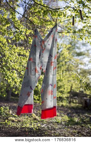Pajamas Pinned To A Clothesline