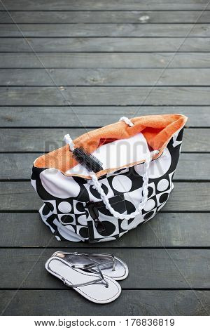 Tote Bag And Pair Of Silver Slippers Copy Space