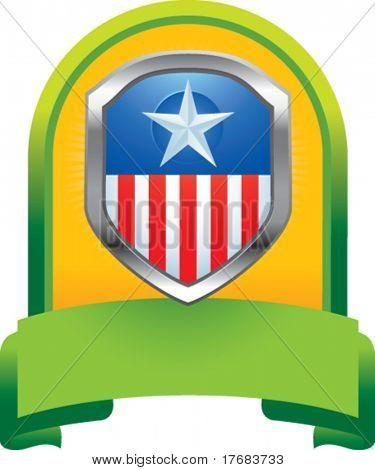 patriotic icon on green display