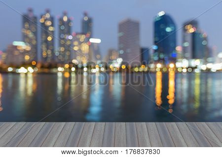 Opening wooden floor office building blurred light at twilight abstract background
