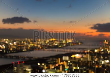 Blurred bokeh light Osaka city residence downtown abstract background