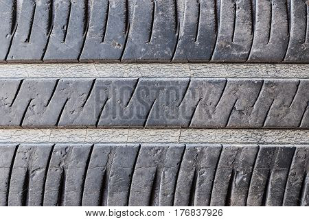 Closeup to Dirty Used Car Tyre .