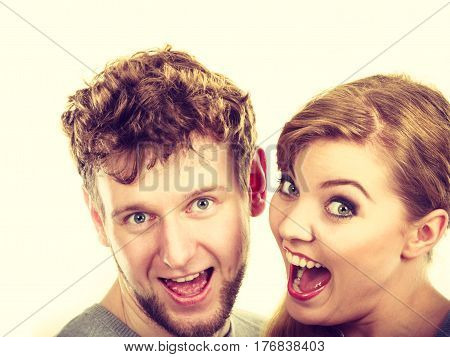 Love romance dating relationship feelings concept. Cheerful couple hugging together. Girl and boy smiling for picture.
