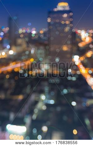 Night light city blurred bokeh downtown abstract background