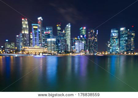 Night blurred bokeh light Singapore city downtown abstract background