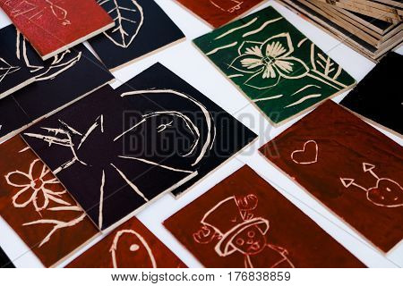 Traditional wood carvings art nd backgrounds .