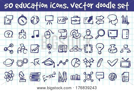 Vector doodle education icons set. Stock cartoon signs for design.
