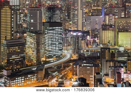 City office building cityscape downtown night view Osaka Japan