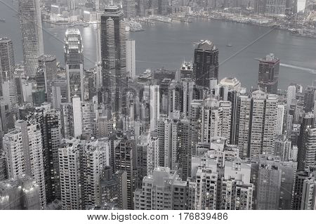 Black and White Aerial view Hong Kong city business downtown over Victoria Bay