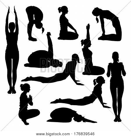 Vector silhouettes of young slim woman doing yoga stretching for spine. Positions for spine to make it flexible and strong.