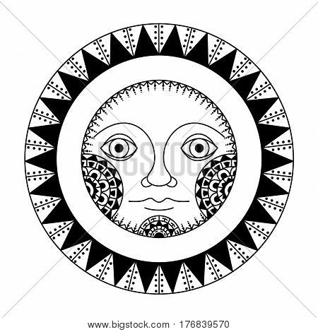Ethnic black sunface silhouette. Tribal of style hand drawn art sun. African / totem / tattoo design