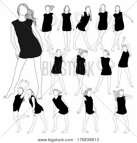 Collection of silhouettes of young beautiful slim woman with long hair in little dress. Profile of sexy girl for design.