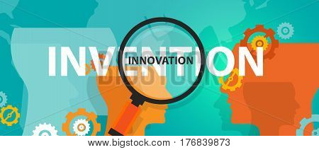 innovation vs invention concept of thinking analysis idea creative mind vector poster