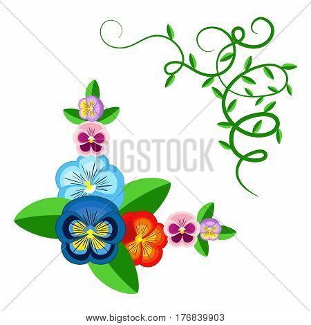 Pansy flowers and green plants frame isolated on white. Garden flower for background texture wrapper pattern frame or border.
