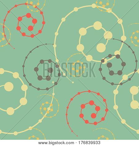 Seamless pattern of сolored spirals on a turquoise background.