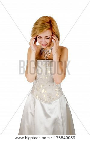 Happy girl in a white evening dress and necklace. Bare shoulders. Isolated on white background